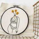Polka Dot Bikini Floral Embroidery Kit