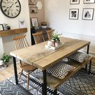 Reclaimed Industrial Chic 6-8 Seater Solid Wood Steel Metal Dining Table HCB 640 | rccfurniture