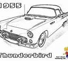 Coloring Pages Cars Classic 1955 Drawing Ford Thunderbird Chevy Bird Mustangs Muscle Bel Yescoloring Truck Drawings Fierce Air Activities Sketch Sketch Coloring Page