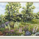 English Cottage Garden Oil and pastel Painting ,Wild Flowers Framed Signed Original Vintage Painting, English Landscape Country cottage