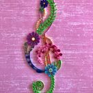 Quilled floral treble clef