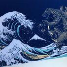 Godzilla tenugui fabric, shin godzilla birthday party, godzilla wall  panel, kendo bandana, martial arts, japan hokusai wave tsunami fabric