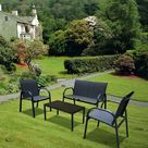 Sekey 4 teilige Sitzgruppe Gartenmöbel Set aus Textilene, Dunkelgrau