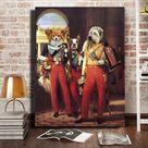 The Dukes of Orleans multi pets portrait   3 4 / Canvas Wrap 18x24