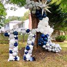 Balloon Arch * Metallic Dark Blue, Gray, Silver, White * DIY Balloon Arch Kit * Balloon Garland