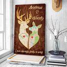 Custom Map Deer Love Always Finds A Way Canvas Wall Art