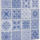Tic Tac Tiles 25cm x 25cm 5 stück 3D selbstklebende Fliesenaufkleber PVC Mosaik klebefolie fliesen Wandfliesen Küche Spritzschutz Badezimmer - Marokkanischer Portugiesisch (Blau und Weiß)