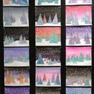 Contemporary Evergreen Trees Mixed Media Collage