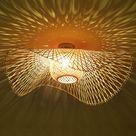 Rétro Lustres Lumière Naturelle De Bambou Et Plafonnier Rotin Vintage E27 Éclairage Plafond Tissées Main Pour Manger Chambre Salon Bar Café Pendentif Cuisine Lampe Suspendue Couloir Suspension,85cm
