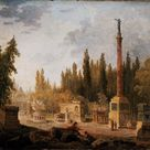 Hubert Robert, 1803 - The Garden of the Museum of French Monuments, former convent of Petits-Augustins - fine art print - Poster print (canvas paper) / 60x50cm - 24x20