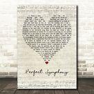 Ed Sheeran & Andrea Bocelli Perfect Symphony Script Heart Song Lyric Print