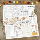 Thanksgiving Coloring Placemats Template - Printable Thanksgiving Placemat, Thanksgiving Kids Table,