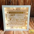 Illuminated picture frame wedding Golden wedding family love personalized custom handmade