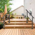 VEVOR Handrail Outdoor Stairs 48 X 35.5 inch Outdoor Handrail Outdoor Stair Railing Adjustable from 0 to 45 Degrees Handrail for Stairs Outdoor Aluminum Black Stair Railing Fit One/Two/There Steps - Walmart.com