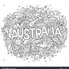 Australia Country Hand Lettering Doodles Elements Stock-Vektorgrafik (Lizenzfrei) 405172198