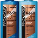 PRO:VOKE Blue Toning Shampoo and Conditioner Duo Pack NO ORANGE BRASSY TONES for natural, coloured or highlighted brunettes