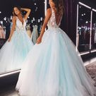 V Neck Teal Lace Floral Long Prom Dress, Teal Lace Floral Long Formal Evening Dresses