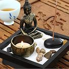 Jeteven Sitting Buddha Ornament Zen Garden Candle Holders for Natural Stone Rattan Incense Gift Set