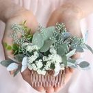 Eucalyptus hair comb greenery succulent Bridal hair vine boho ivory flower comb bridal hair p...