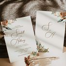 Boho Fall Wedding Invitation - Rustic Fall Wedding Invitation - Fall Wedding Invitation Template - November Wedding Invitation - Editable