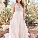 Style 6422 Chiffon A Line Gown with Lace Bodice and Sleeves   Lillian West
