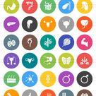 50 Human Anatomy Flat Round Icons