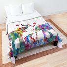 Elephant, Elephant Family, Mother And Baby Elephant Comforter by Rosaliartbook
