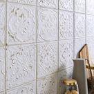 Carrelage mur forte carreau de ciment blanc mat l.20 x L.20 cm, Victoria