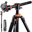 K&F Concept 72 Inch Camera Tripod, S211 Transverse Center Column Aluminium Professional DSLR Tripod with 360 Degree Ball Head,Quick Release Plate,Detachable Monopod 10kg Load for Travel and Work - Default