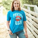 Party in the USA Heather Blue Graphic Tee up to Plus - 2X