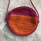 NWT Anthropologie pink suede/orange raffia purse