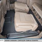 Maxliner 2008-2020 Dodge Grand Caravan 2008-2016 Chrysler Town & Country Floor Mats Second and Third Row Stow N Go Seats Black B0046