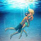 Percy Jackson - Percabeth - Underwater Kiss Sticker by Laura Hollingsworth