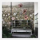 Florale Tapete Blau /Beige auf Maß online kaufen - Badezimmer Tapeten