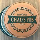 Groomsmen Gifts, Personalized Leather Coasters, Wedding Party Favors, Groomsmen Coasters, Customized