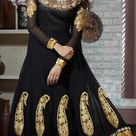 Black Faux Georgette Embroidered Long Anarkali Style Salwar Suit