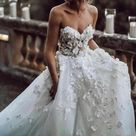 Sweetheart Neck Tulle A-line Wedding Dresses Appliqued Wedding Gowns,MW322