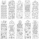 24-Pack Color Your Own Bookmarks, 24 Designs Encourage Reading, Great Gifts for Kids