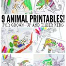 9 Animal Printables - Coloring Pages for Adults