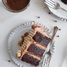 Chocolate Brownie Cake with Chocolate Hazelnut filling and Mocha German Buttercream