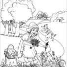 The Wolf Runs to Grandmother's House While a Little Girl Picks Some Flowers coloring page | Free Printable Coloring Pages