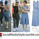 Kendall Jenner's Denim Dress and White Sneakers