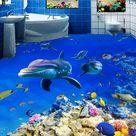 3D Dolphin Stone 0572 Floor Wallpaper Murals Self-Adhesive Removable Kitchen Bath Floor Waterproof f