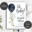 Navy Balloon Baby Shower Invitation Baby Boy Shower Digital Instant Download Editable Template DIY Printable, BA-47