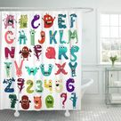 Colorful Number Monster Funny Cut Alphabet English Letter 10 Shower Curtain 66x72 inch