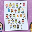 Princesses parody alphabet sampler  Cross stitch PDF pattern   Etsy