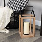 STRATTON HOME DECOR Natural Wood & Black Metal Open Lantern in Light Natural Wood at Nordstrom Rack