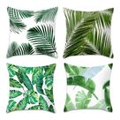 4Pcs Throw Pillowcase One Side Printed Soft Skin-friendly Palm Leaf Decorative Throw Pillow Cover Case for Home
