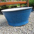 Traditional Blue Enameled Bath / Feeding Trough / Garden Planter Good Condition Water Tight Herb Garden Alpine Garden Garden Water Reservoir