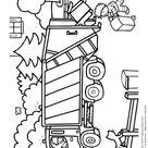 Coloriage camion et chantier poubelle